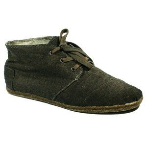 Toms Mens Chukka Canvas Brown Shoes Size 11.5